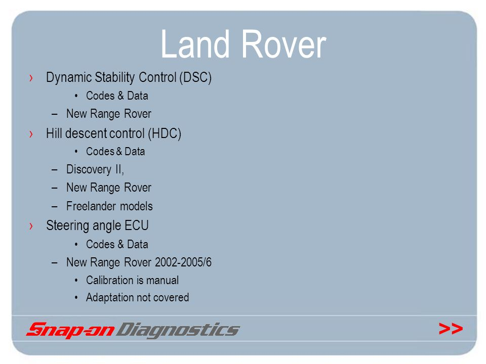 Land Rover Dynamic Stability Control (DSC) Hill descent control (HDC)