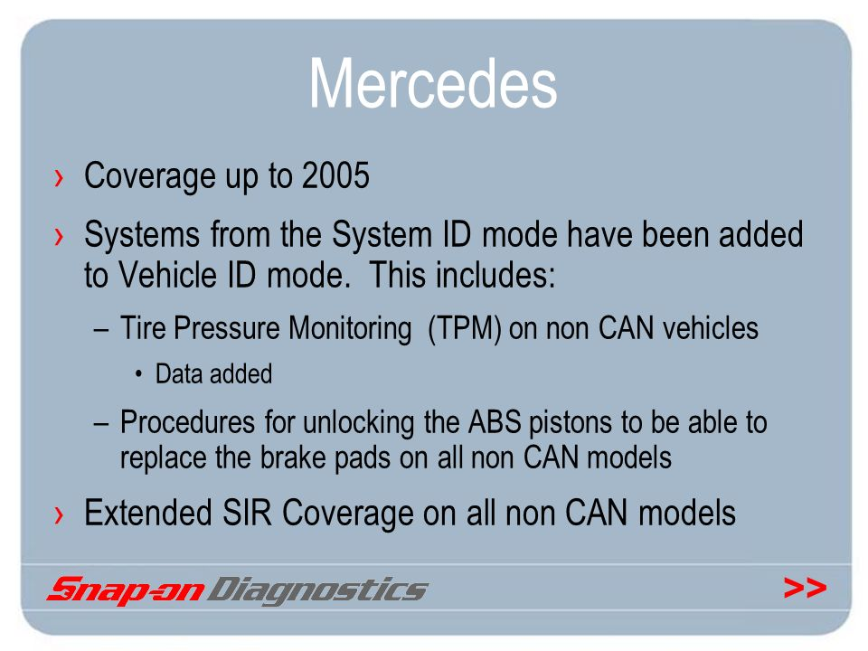 Mercedes Coverage up to 2005