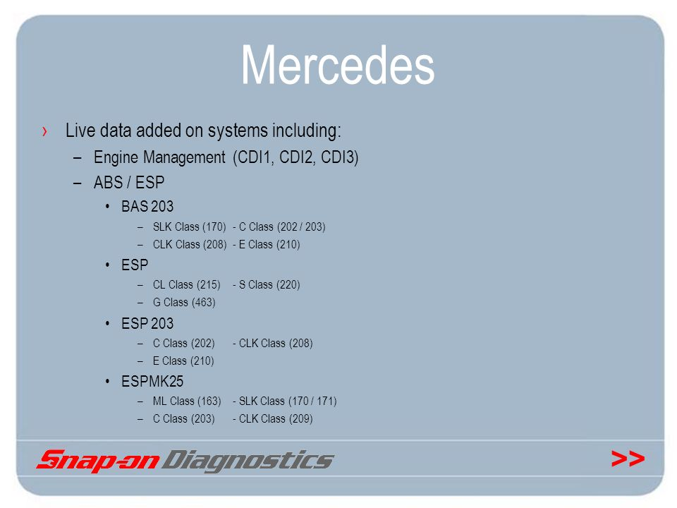 Mercedes Live data added on systems including: