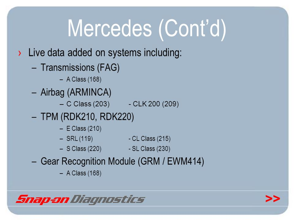 Mercedes (Cont'd) Live data added on systems including: