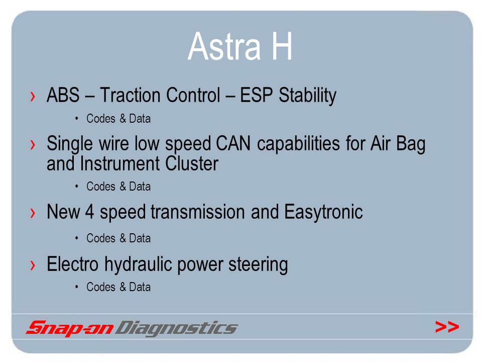 Astra H ABS – Traction Control – ESP Stability