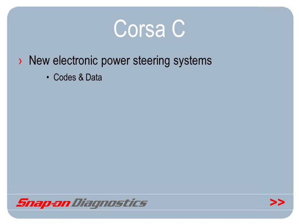 Corsa C New electronic power steering systems Codes & Data