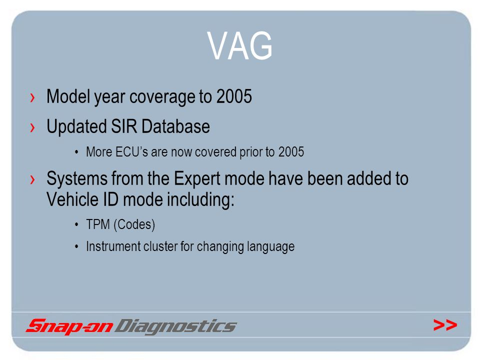 VAG Model year coverage to 2005 Updated SIR Database