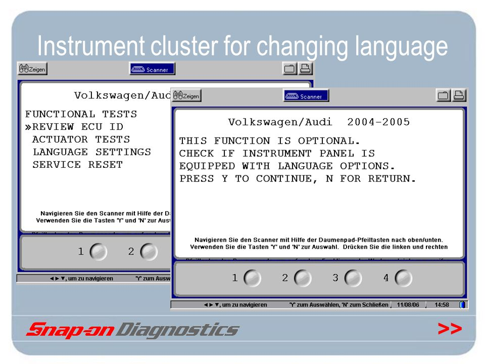 Instrument cluster for changing language