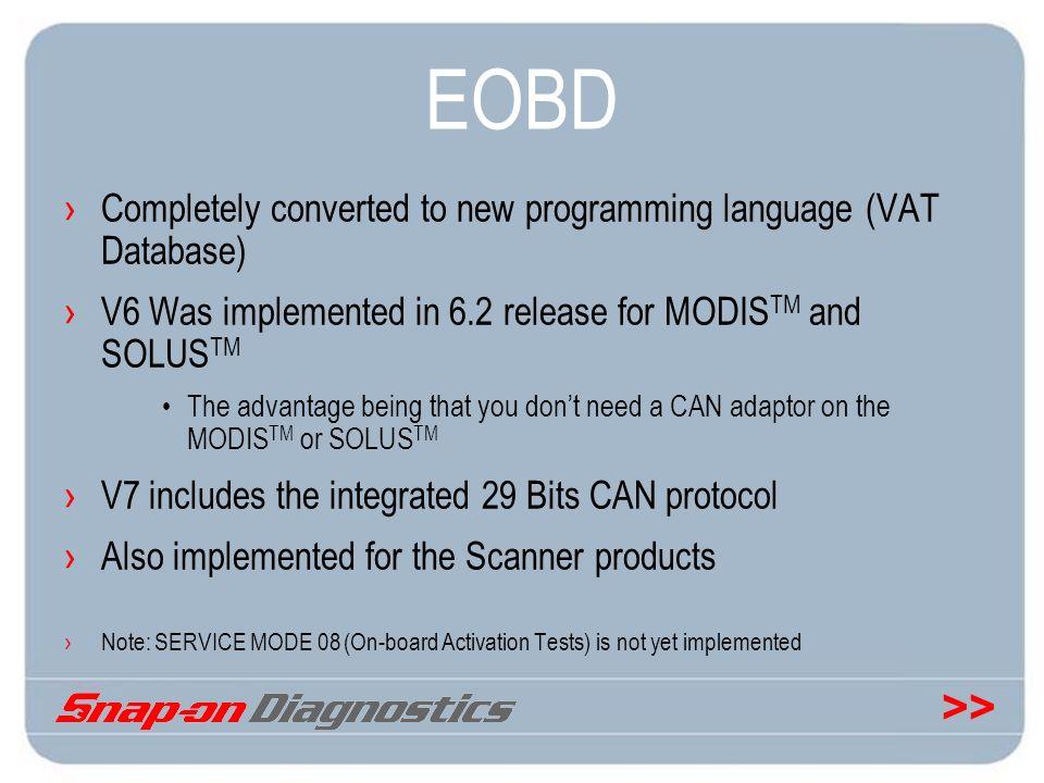 EOBD Completely converted to new programming language (VAT Database)