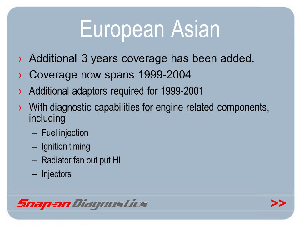 European Asian Additional 3 years coverage has been added.