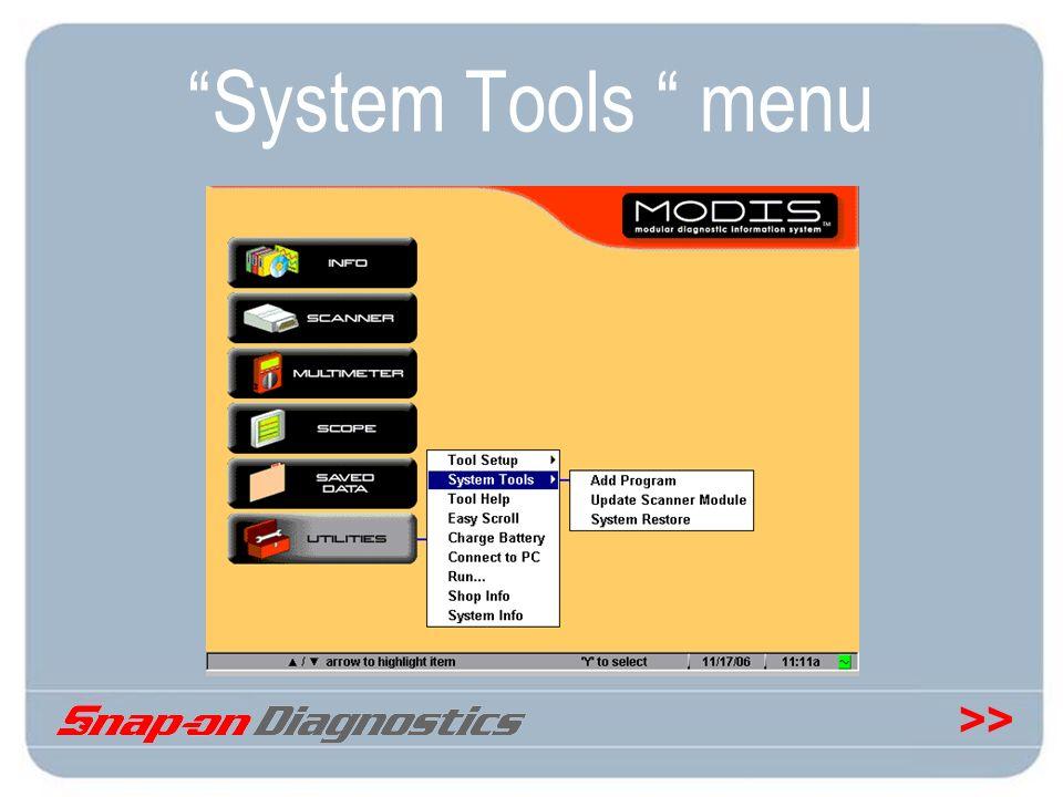 System Tools menu