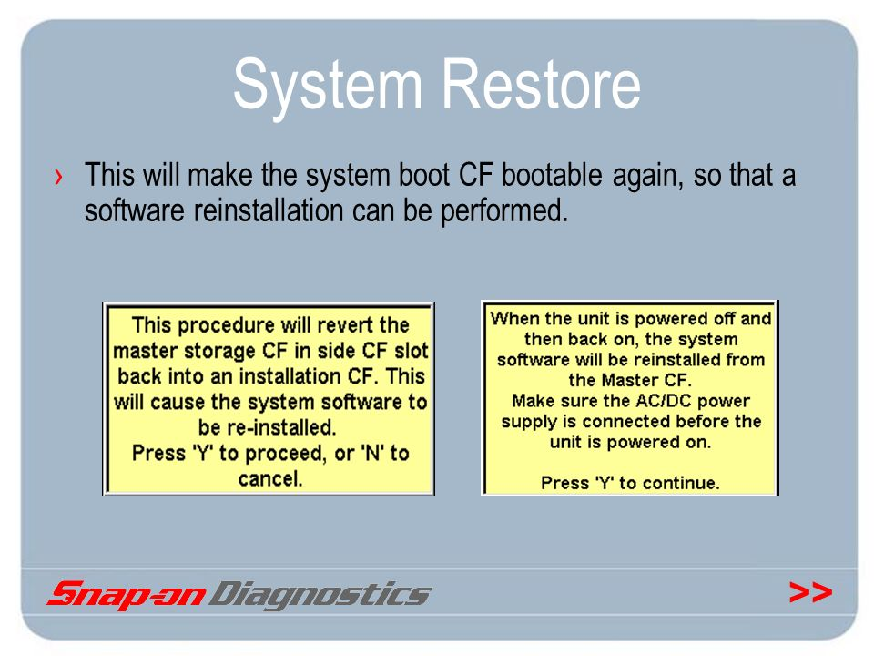 System Restore This will make the system boot CF bootable again, so that a software reinstallation can be performed.