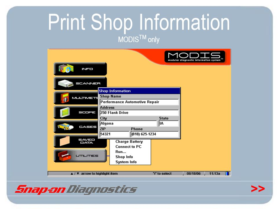 Print Shop Information MODISTM only