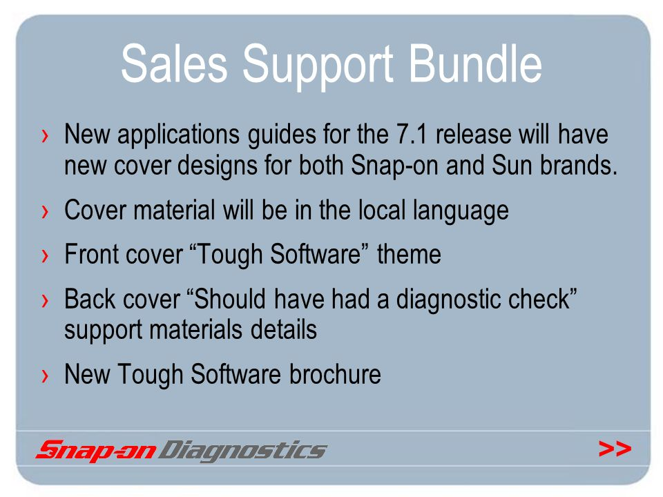 Sales Support Bundle New applications guides for the 7.1 release will have new cover designs for both Snap-on and Sun brands.