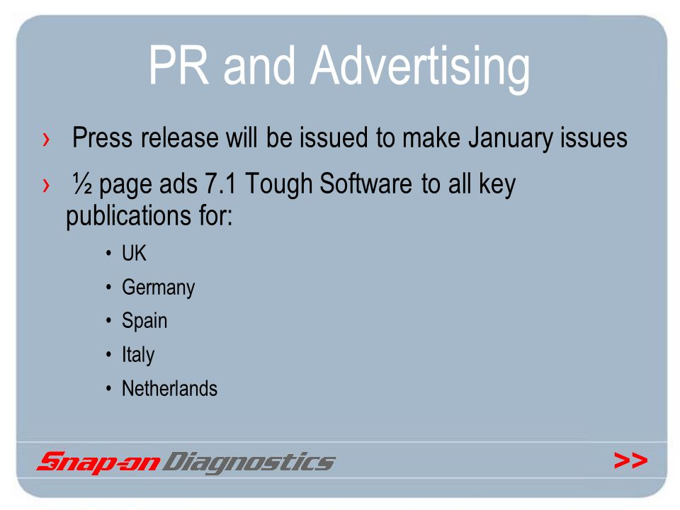 PR and Advertising Press release will be issued to make January issues