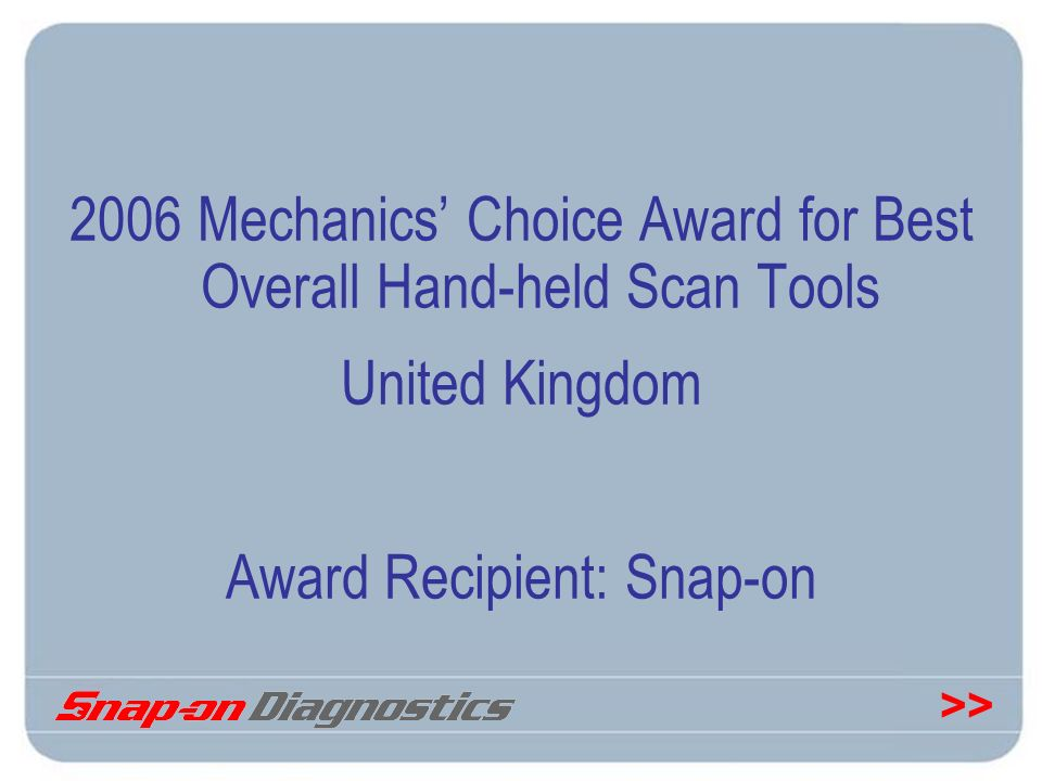 2006 Mechanics' Choice Award for Best Overall Hand-held Scan Tools