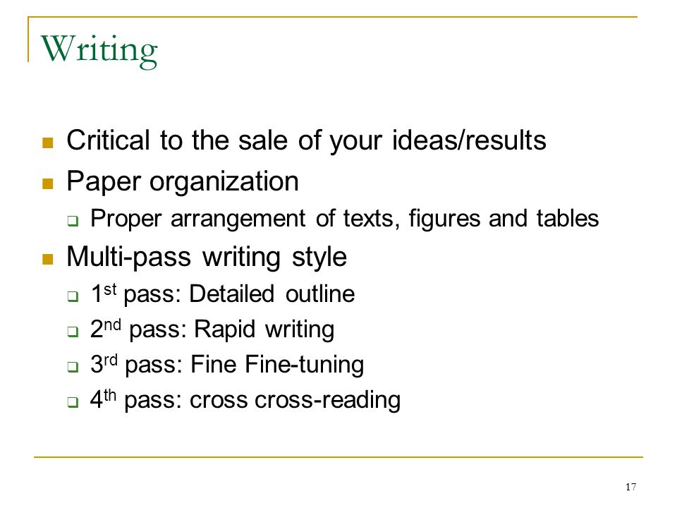 Writing Critical to the sale of your ideas/results Paper organization