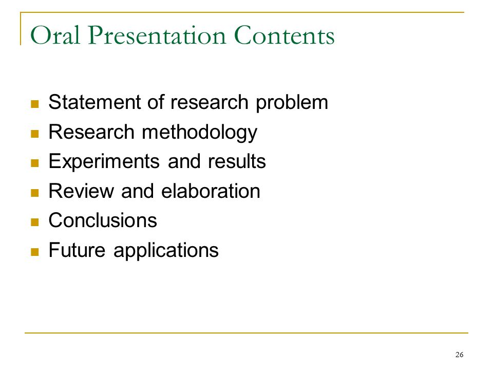 Oral Presentation Contents