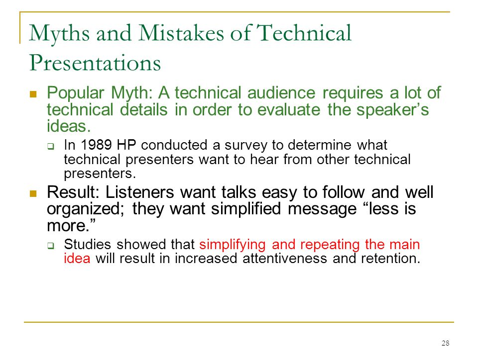 Myths and Mistakes of Technical Presentations