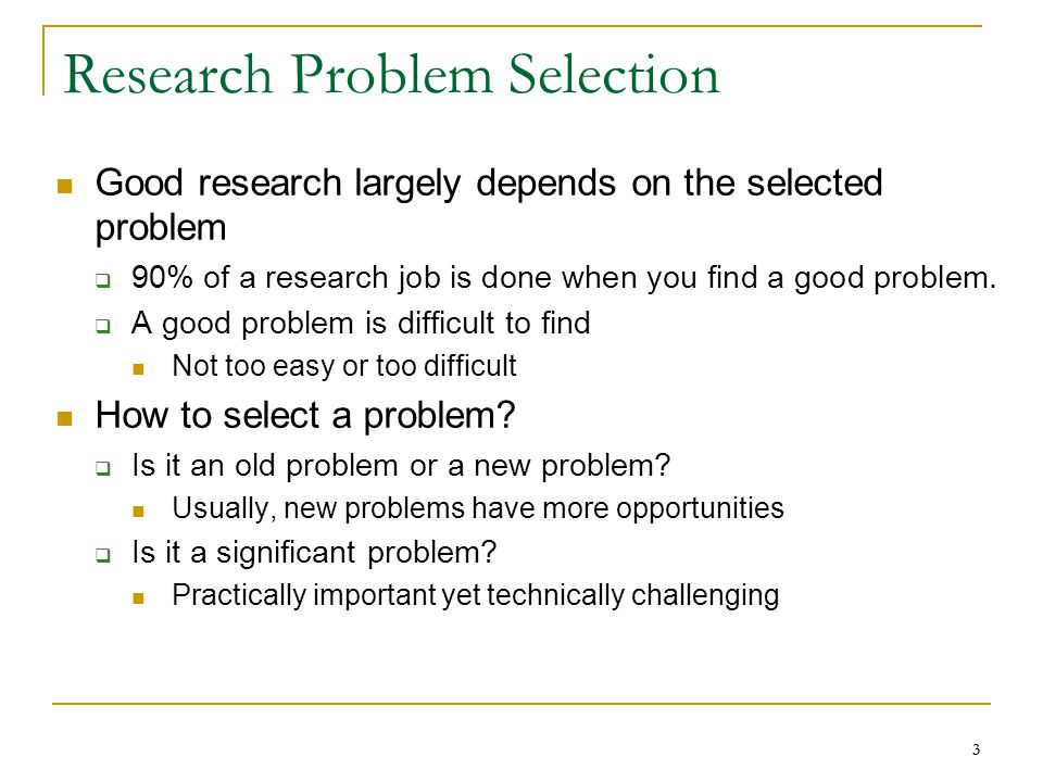 Research Problem Selection