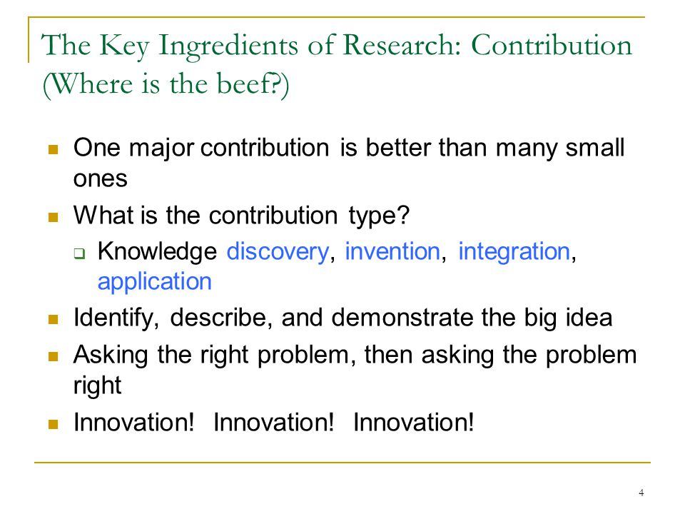 The Key Ingredients of Research: Contribution (Where is the beef )