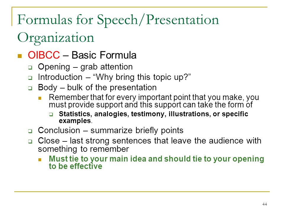 Formulas for Speech/Presentation Organization