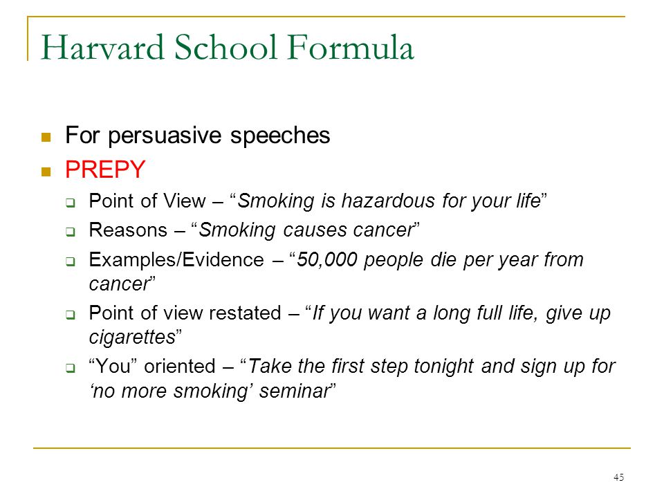 Harvard School Formula
