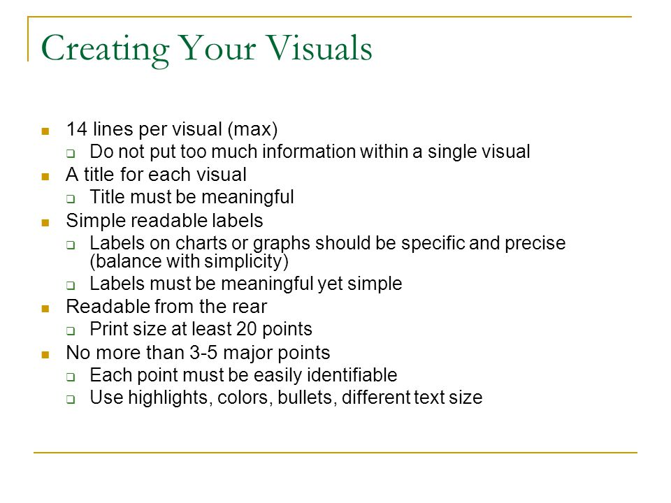 Creating Your Visuals 14 lines per visual (max)