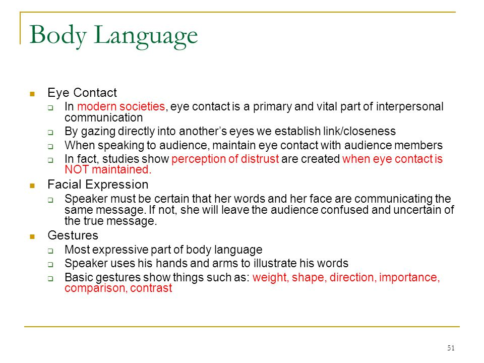 Body Language Eye Contact Facial Expression Gestures