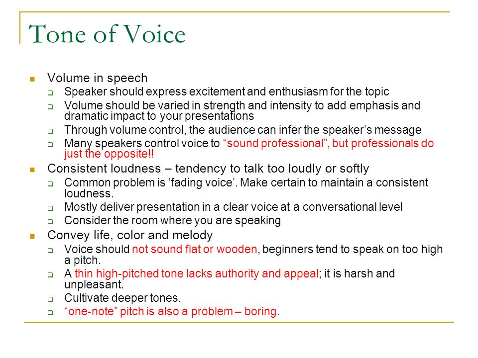 Tone of Voice Volume in speech