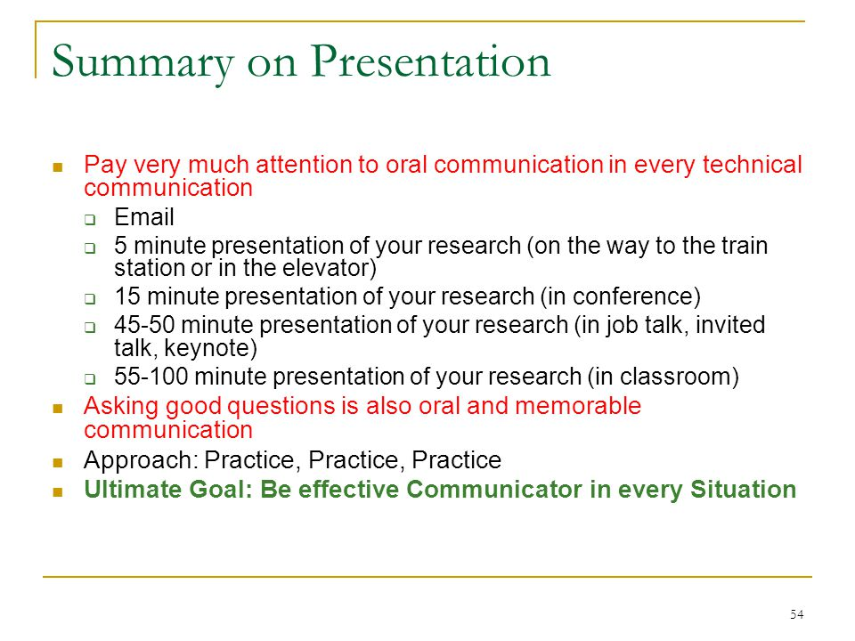 Summary on Presentation