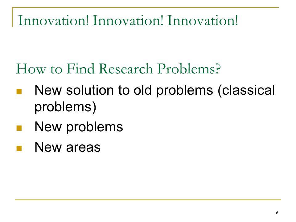 Innovation! Innovation! Innovation!
