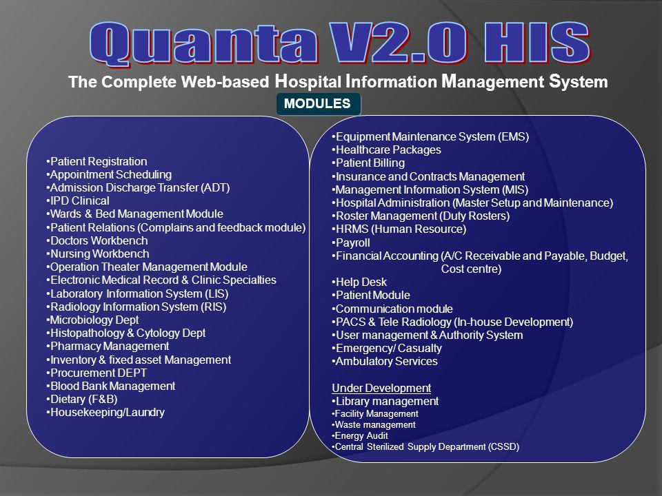 Quanta V2.0 HIS The Complete Web-based Hospital Information Management System. MODULES. Patient Registration.