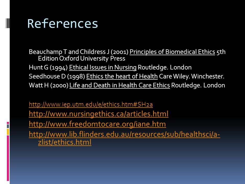 References http://www.nursingethics.ca/articles.html
