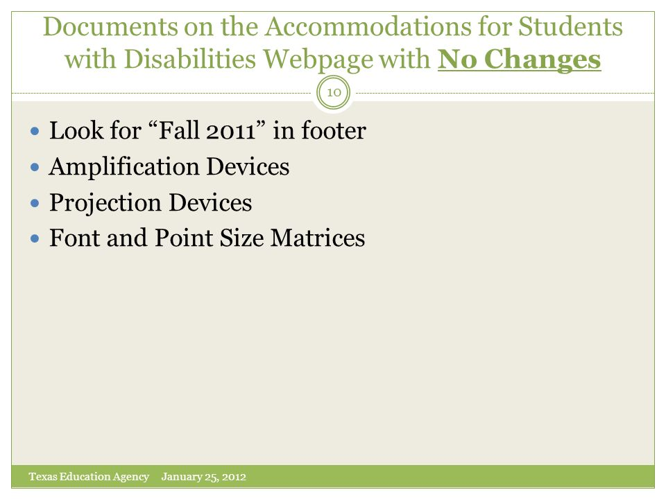 Documents on the Accommodations for Students with Disabilities Webpage with No Changes