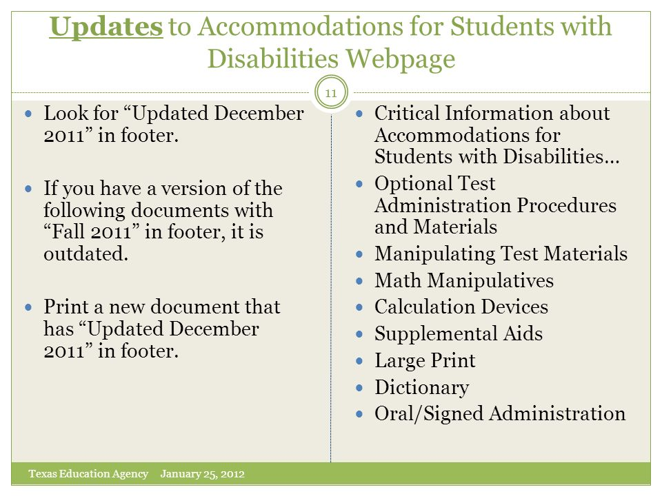 Updates to Accommodations for Students with Disabilities Webpage