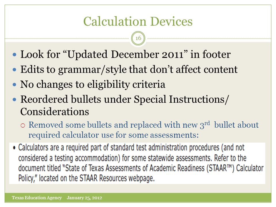 Calculation Devices Look for Updated December 2011 in footer