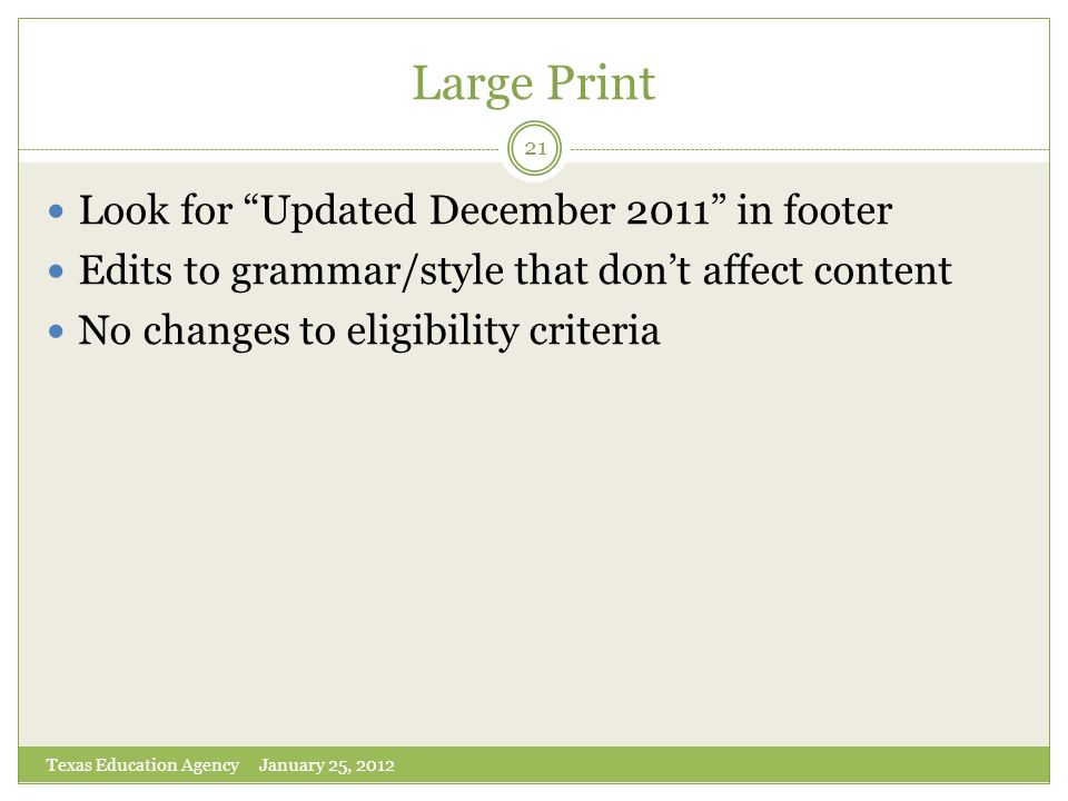 Large Print Look for Updated December 2011 in footer
