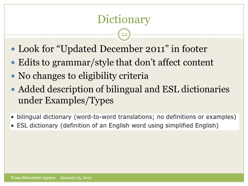 Dictionary Look for Updated December 2011 in footer