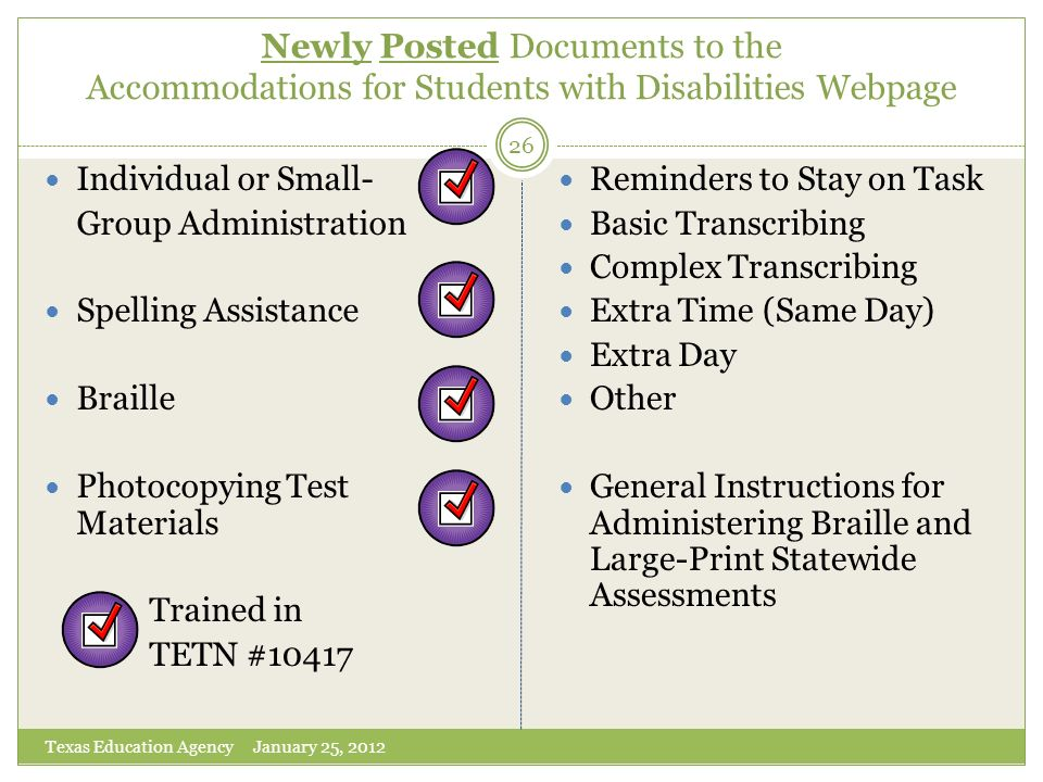 Newly Posted Documents to the Accommodations for Students with Disabilities Webpage