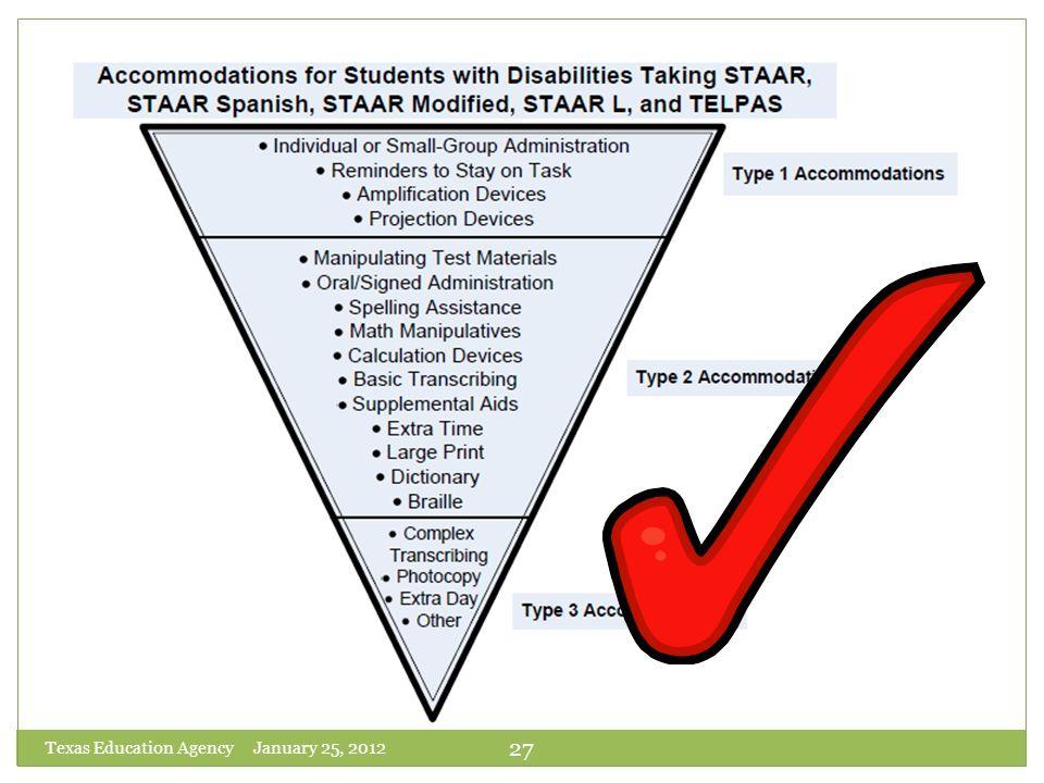 Texas Education Agency January 25, 2012
