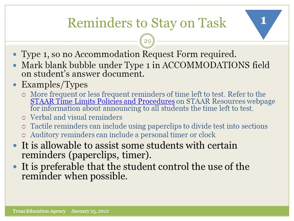 Reminders to Stay on Task