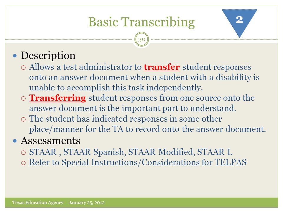 Basic Transcribing 2 Description Assessments
