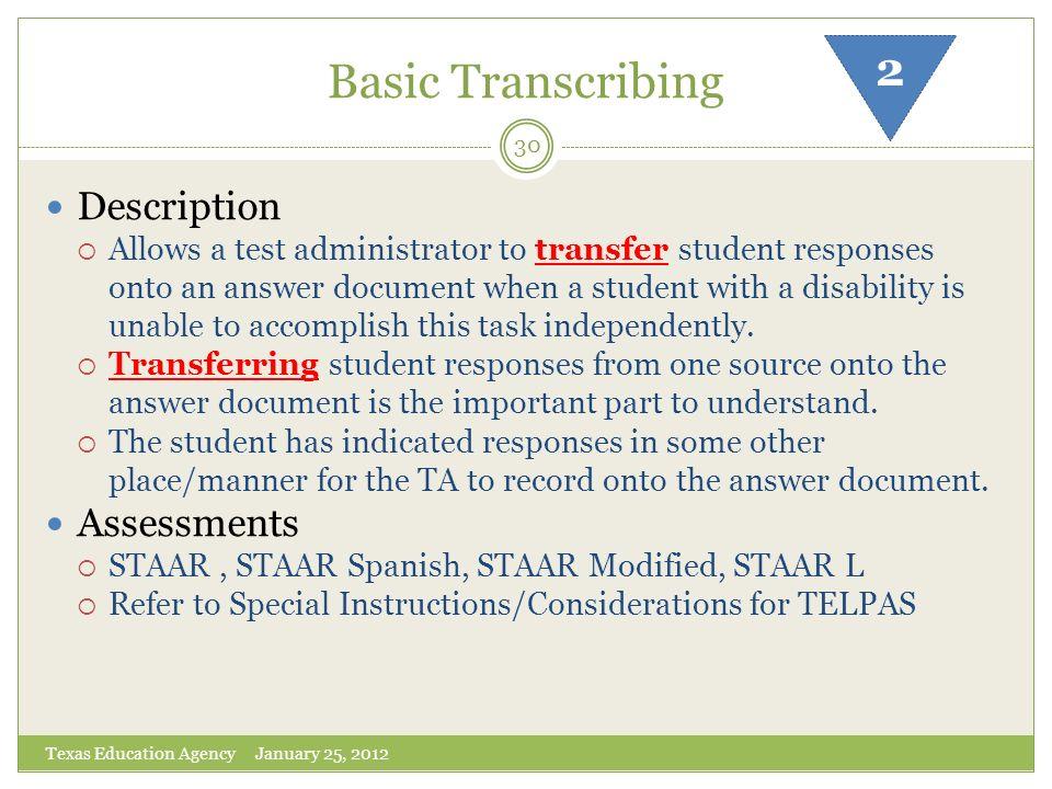Basic Transcribing 2 Description Assessments