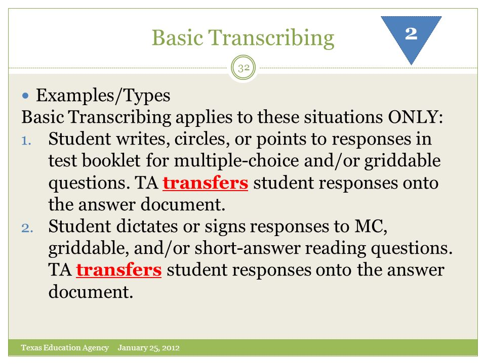 Basic Transcribing 2 Examples/Types