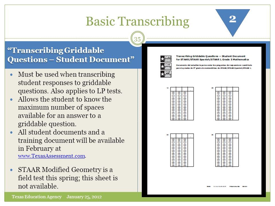 Basic Transcribing 2. Transcribing Griddable Questions – Student Document