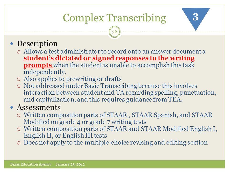 Complex Transcribing 3 Description Assessments