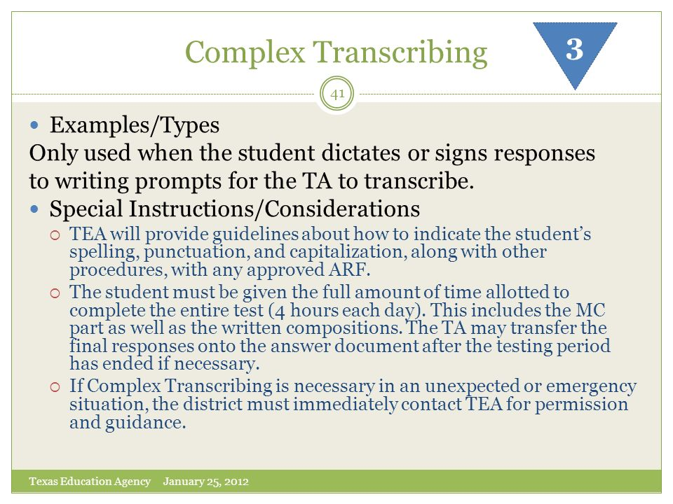Complex Transcribing 3 Examples/Types