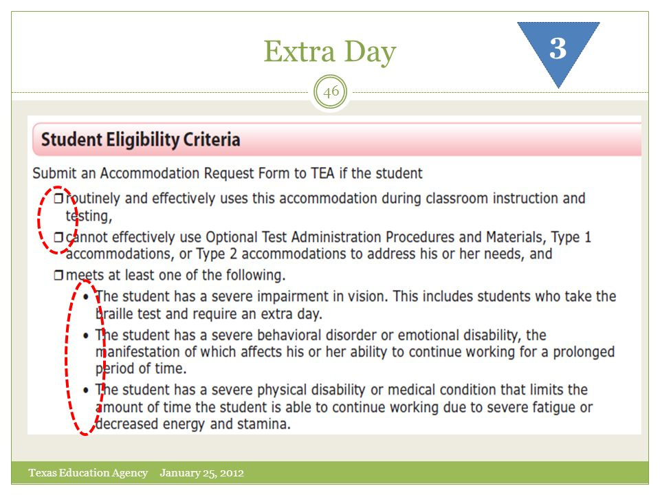 Extra Day 3 Texas Education Agency January 25, 2012