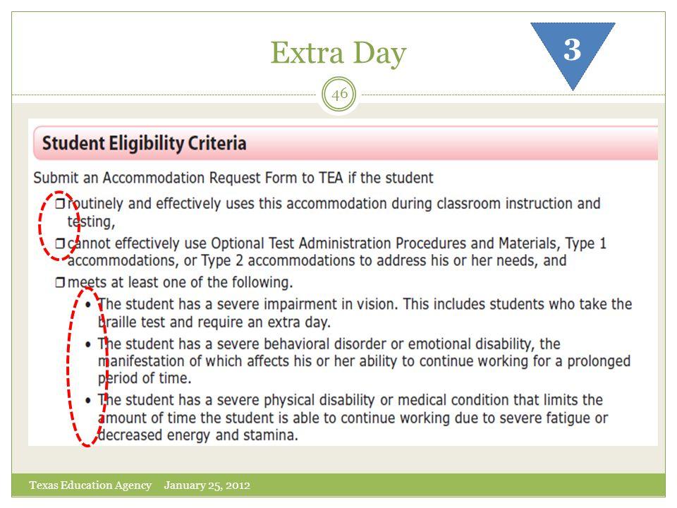 Extra Day 3 Texas Education Agency January 25, 2012