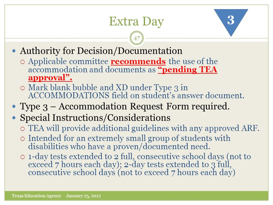 Extra Day 3 Authority for Decision/Documentation