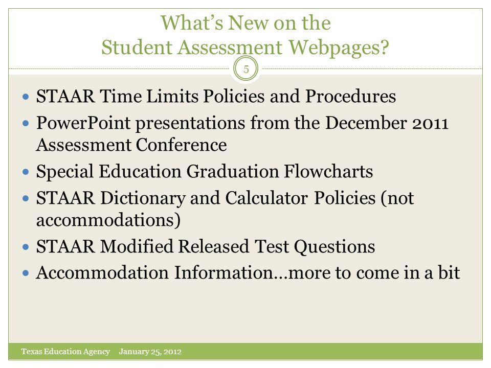 What's New on the Student Assessment Webpages