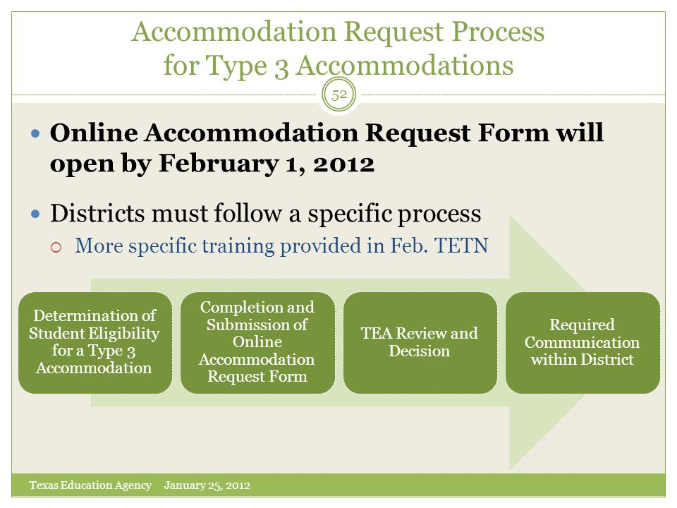 Accommodation Request Process for Type 3 Accommodations