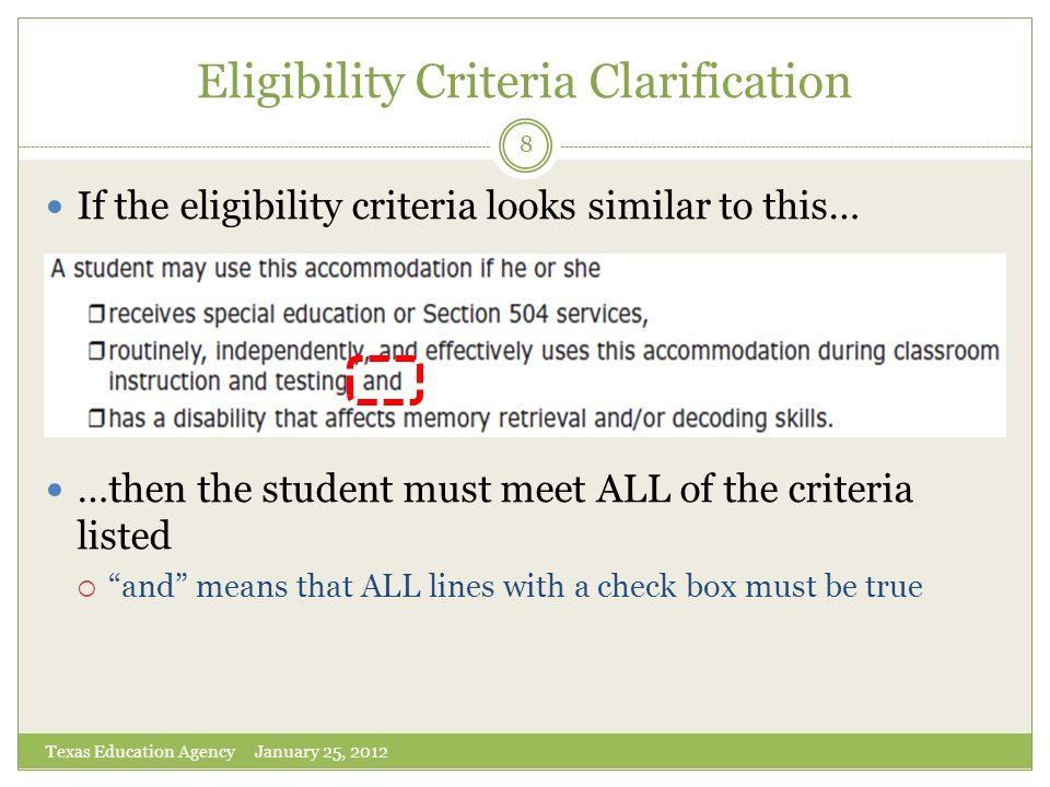 Eligibility Criteria Clarification